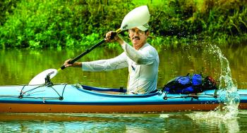 Randy Hargroder of Opelousas, a relative newcomer to kayak racing, paddles his way to victory in the fourth running of the Tour du Teche last Friday, Saturday and Sunday.